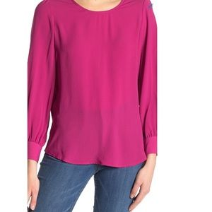 Adrianna Papell pink long sleeves top size L NEW